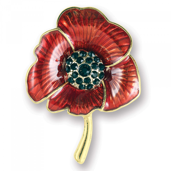 Enamelled Poppy Brooch