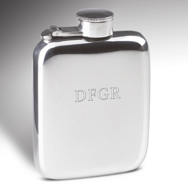 Engraved 4oz Pewter Hip Flask