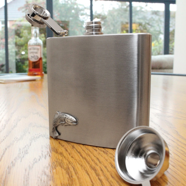Engraved Fishing Hip Flask Set