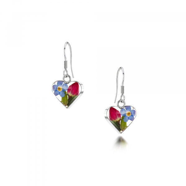 Shrieking Violet Rose & Forget-me-not Heart Earrings