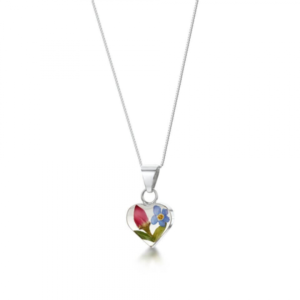Shrieking Violet Rose & Forget-me-not Heart Pendant
