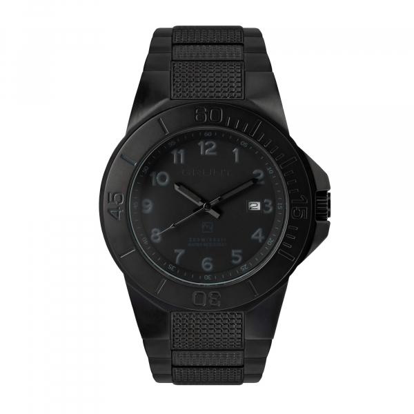 The Tough Watch, Blackout Dial, Case & Bezel, Black Stainless Bracelet