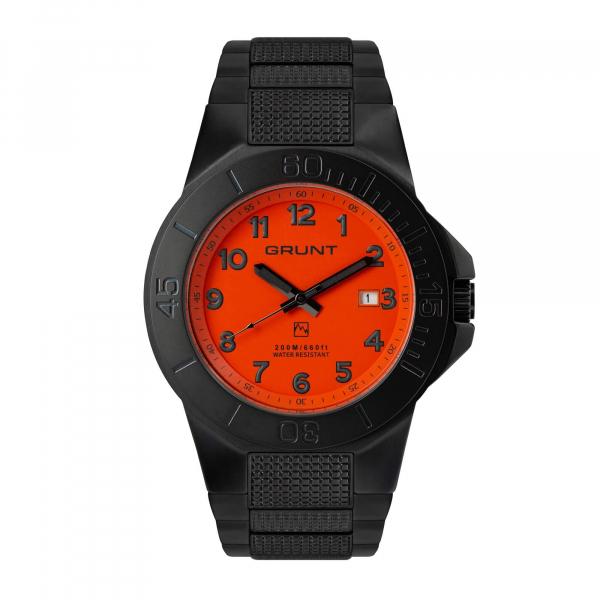 The Tough Watch, Orange Dial, Blackout Case & Bezel, Black Stainless Bracelet