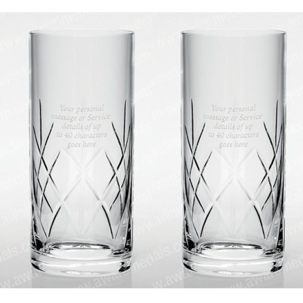 Cut Glass Hi-Ball Tumbler Pair Including gift Box