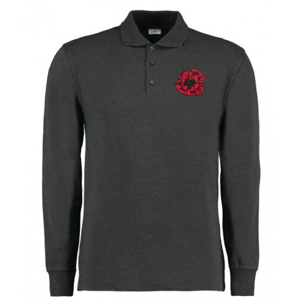 Personalised Long Sleeved Arundel Charcoal Polo Shirt