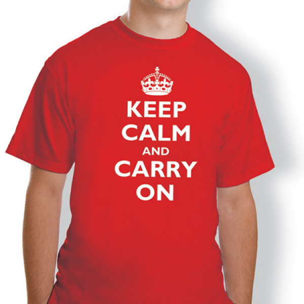 Keep Calm and Carry On Red T Shirt (Size : S)