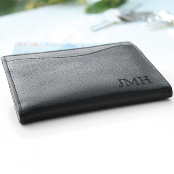 Personalised Leather Travel Card Holder with Initials
