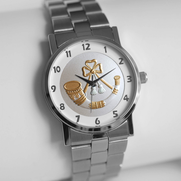MILITARY WATCH SILVER STRAP BI-TONED EMBLEM