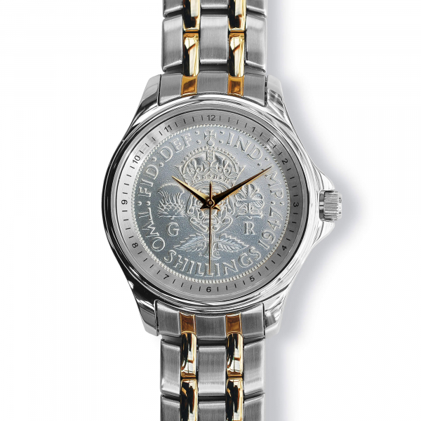 Lifestyle Coinwatch with Florin, Silver Case, 2-tone Bracelet