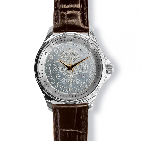 Lifestyle Coinwatch With Florin, Silver Case And Leather Strap