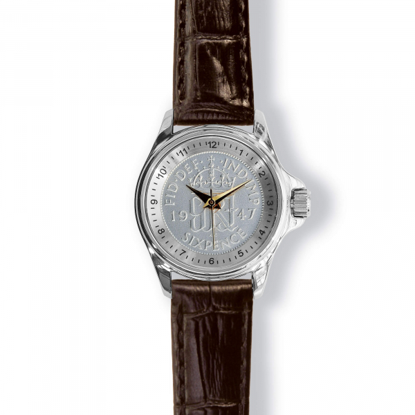 Lifestyle Coinwatch With Sixpence, Silver Case And Leather Strap
