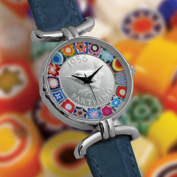 Millefiori Farthing Watch with Blue Strap