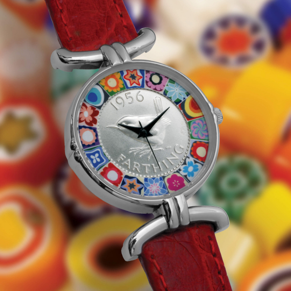 Millefiori Farthing Watch with Red Strap