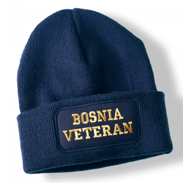 Bosnia Veteran Navy Blue Acrylic Beanie Hat