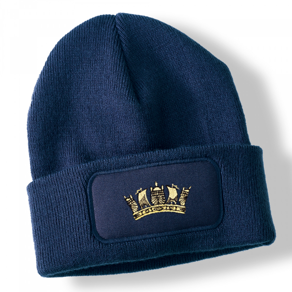 Royal Navy Crown Navy Blue Acrylic Beanie Hat