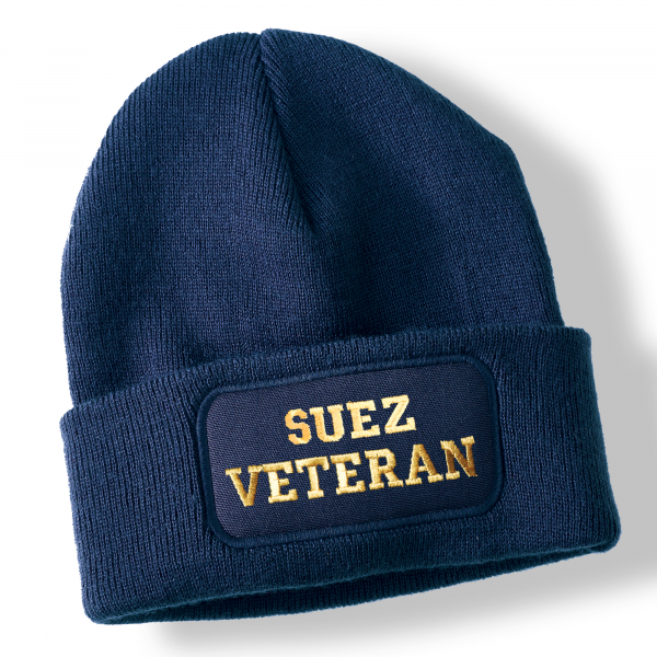 Suez Veteran Navy Blue Acrylic Beanie Hat