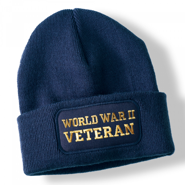 World War II Veteran Navy Blue Acrylic Beanie Hat