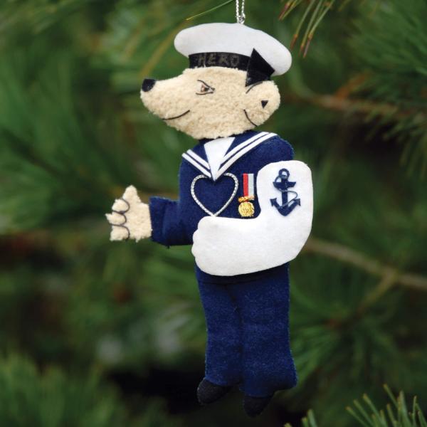 Navy Bear Christmas Decoration