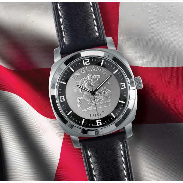 St George Black Leather Watch