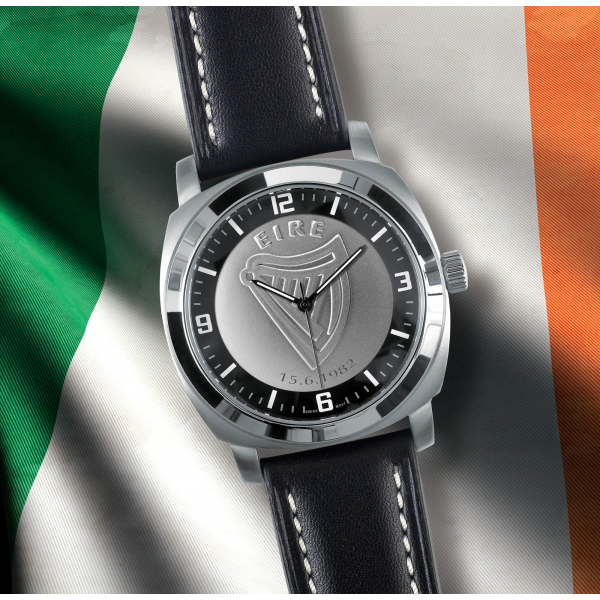 Black Leather Irish Patriot Watch