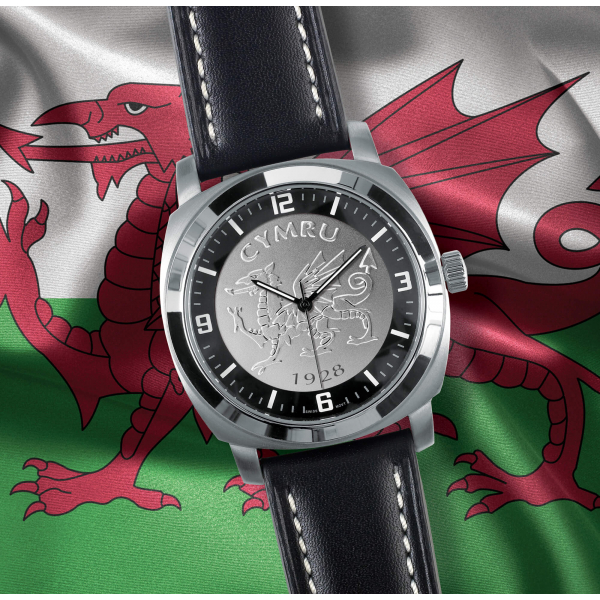 Black Leather Welsh Patriot Watch