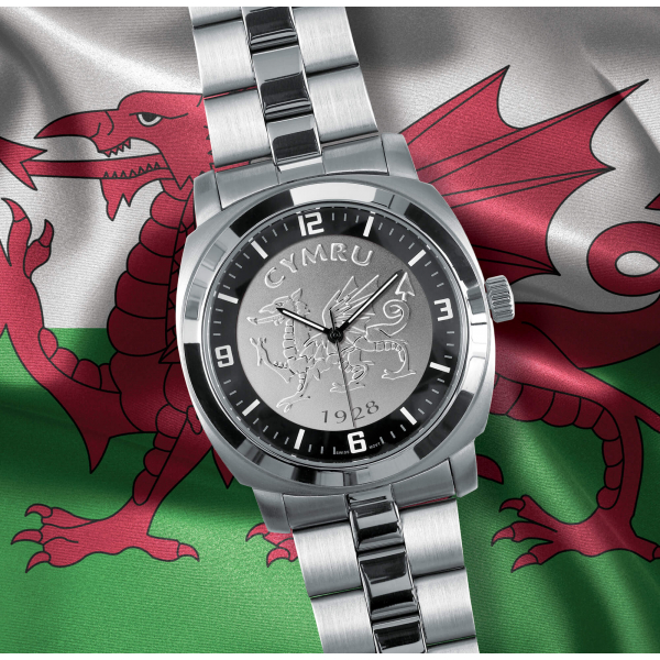 Silver Bracelet Welsh Patriot Watch