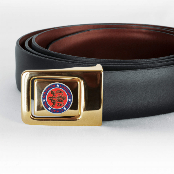 Normandy 75 Reversible Black/Brown Leather Belt With Badge