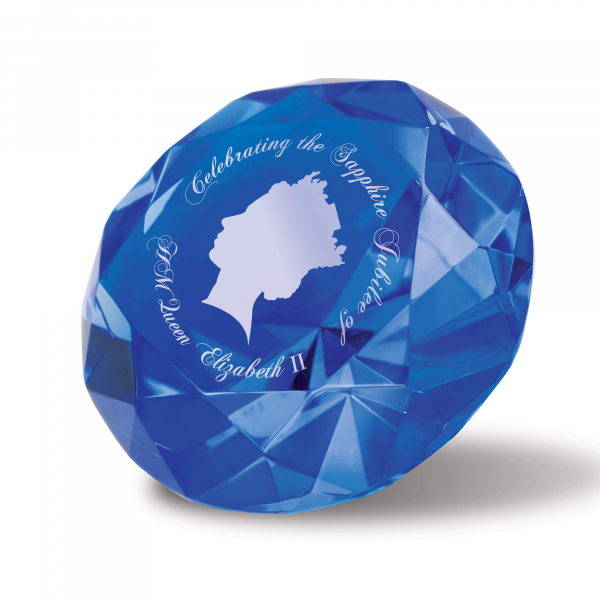Small Optical Blue Diamond Paperweight