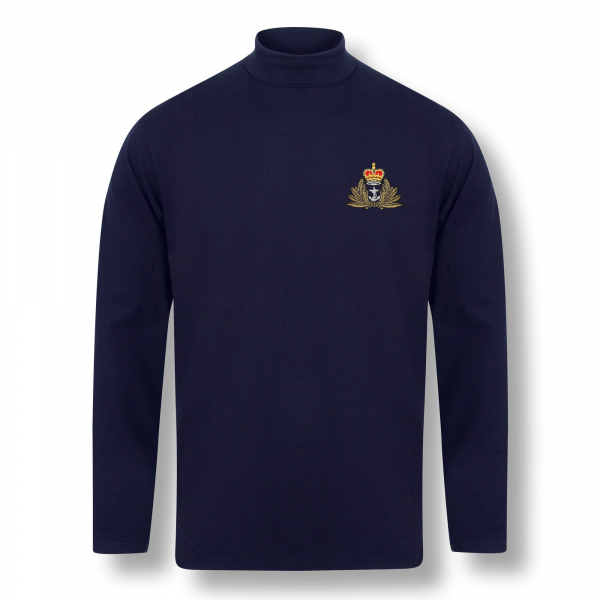 Personalised Henbury Navy Roll Neck Top
