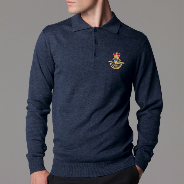 Personalised Long Sleeved Arundel Navy Polo Shirt