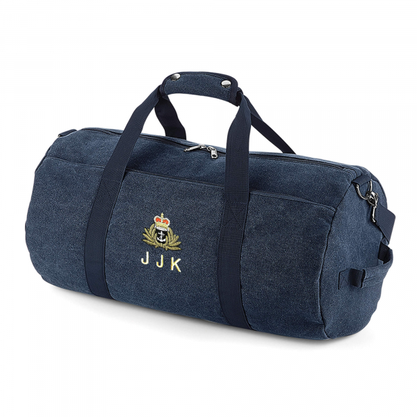 Vintage Oxford Navy Canvas Barrell Bag