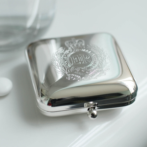 Square Silver Pill Box