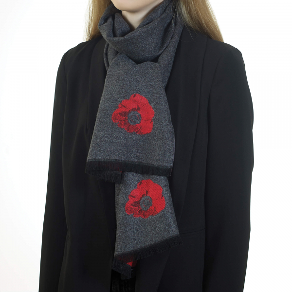 Poppy Grey & Red Scarf