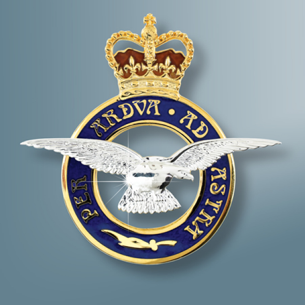 RAF Badge Sterling Silver Sweetheart Brooch