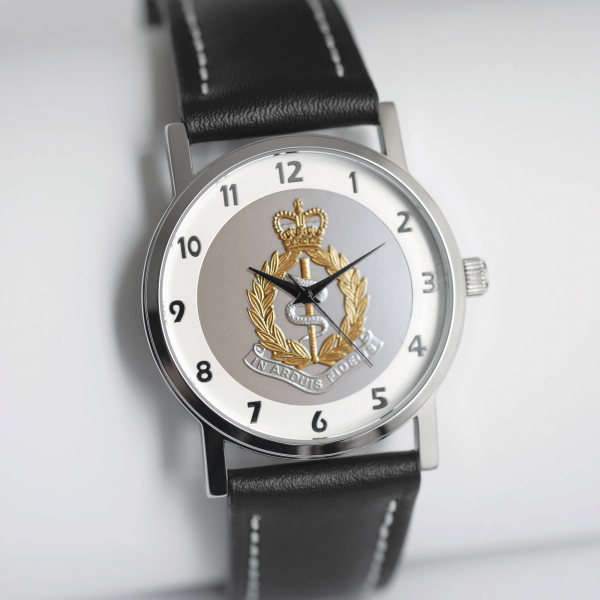 MILITARY WATCH BLACK STRAP    BI-TONED EMBLEM