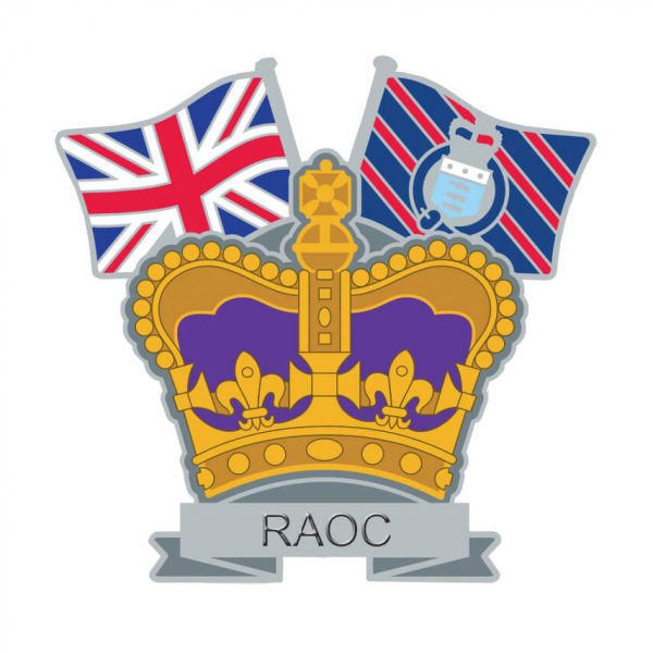Royal Army Ordnance Corps Crown & Country Lapel Badge