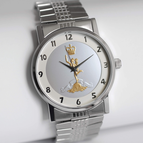MILITARY WATCH SILVER STRETCH BAND TWO TONED EMBLEM