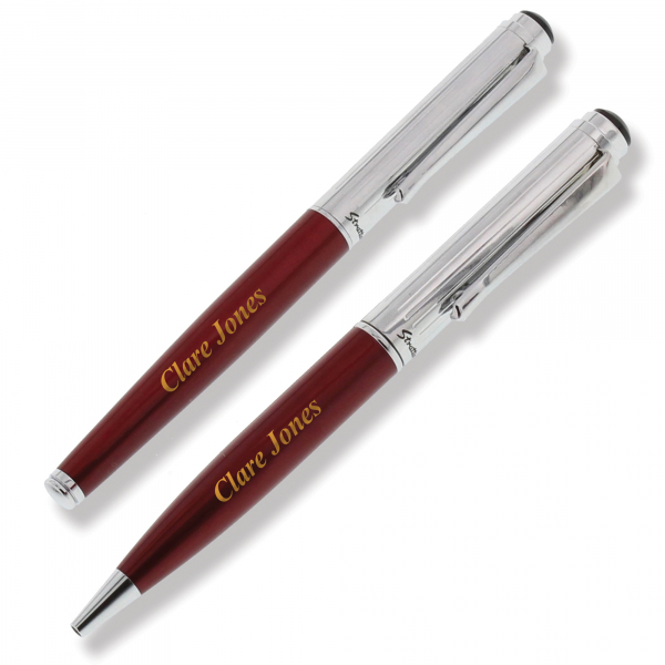 Personalised Red Chrome Rollerball & Ballpoint Pen Set
