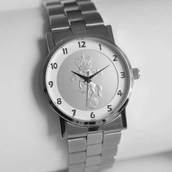 MILITARY WATCH SILVER STRAP   SILVER EMBLEM
