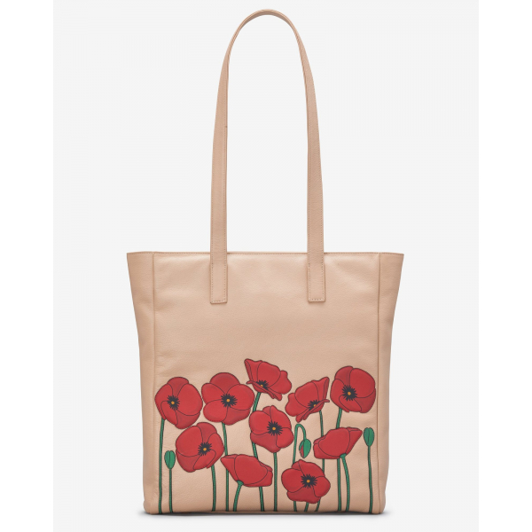 Poppy Flower Leather Shopper Bag