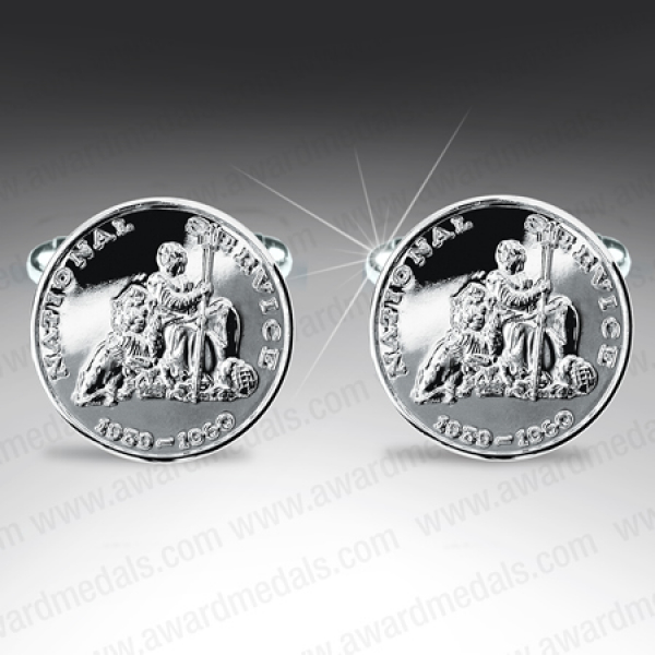 National Service Silver Plated Cufflinks