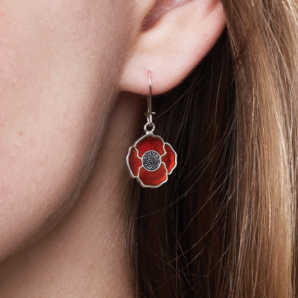 Sterling Silver Poppy Drop Earrings