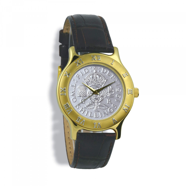 Summit Coinwatch, Gents, Gold Case, Tan Leather Strap, Silver Coin