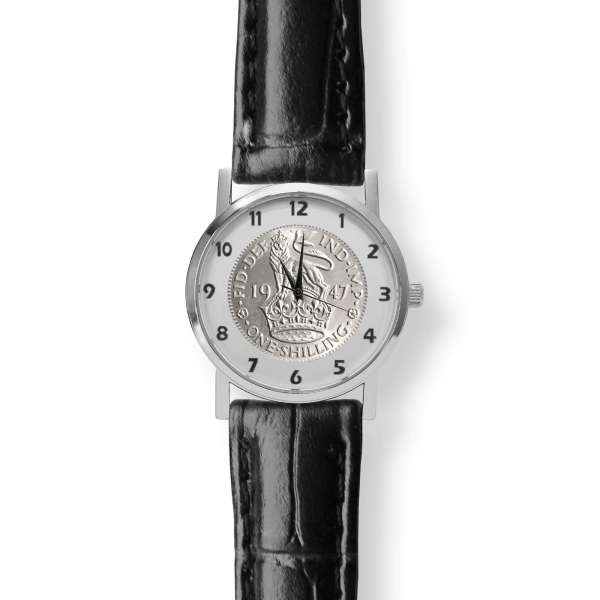 Kings Shilling Watch Black Leather Strap