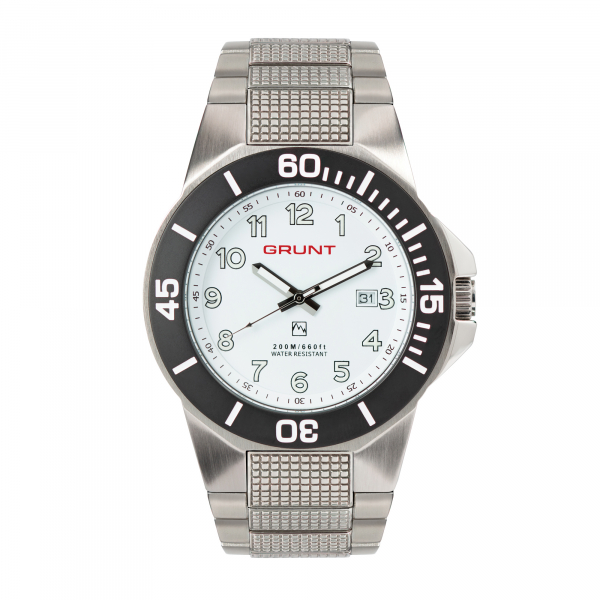 The Tough Watch, White Dial, Stainless Case, Black Bezel, Stainless Bracelet