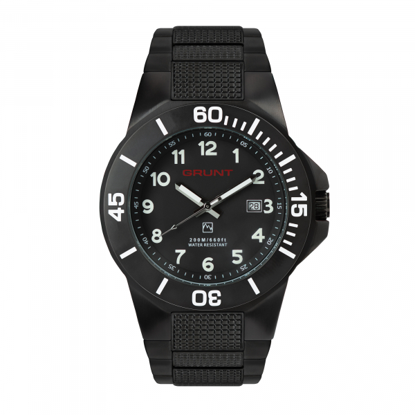 The Tough Watch, Black Dial, Case & Bezel, Black Stainless Bracelet