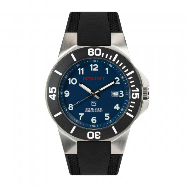The Tough Watch, Blue Dial, Stainless Case, Black Bezel, Silicon Strap