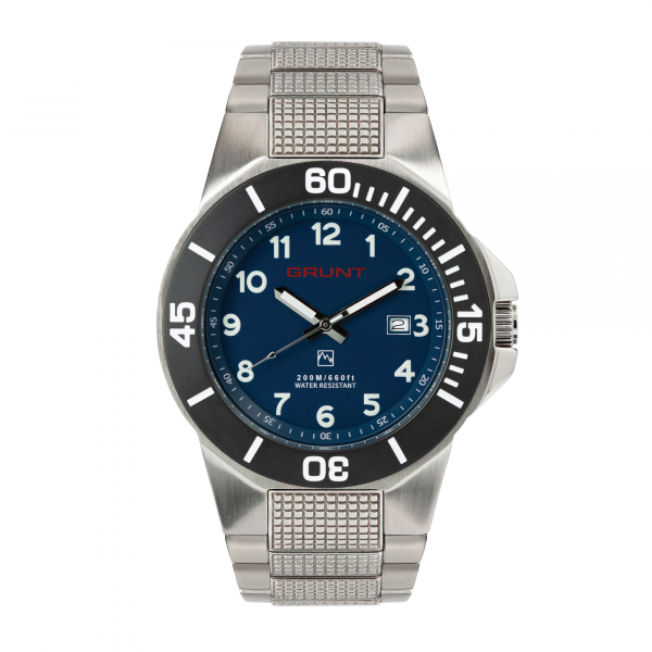 The Tough Watch, Blue Dial, Stainless Case, Black Bezel, Stainless Bracelet