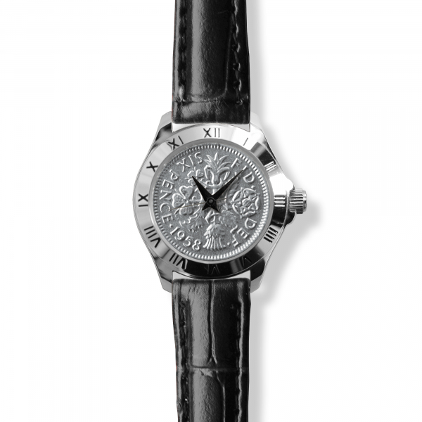 Tanner Watch With Silver Case, Silver Coin & Black Leather Strap