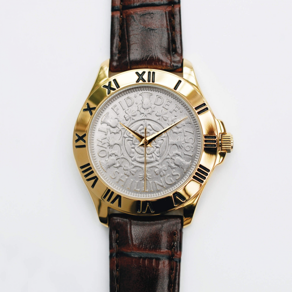Two-Bob Watch With Silver Coin & Brown Leather Strap